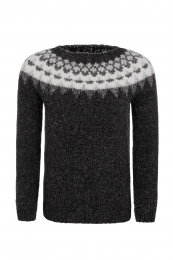 Handknitted Icelandic Sweater - black / grey / white