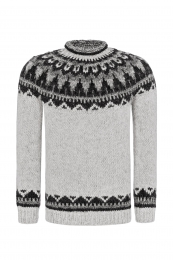 Traditional Icelandic Wool Sweater Hand-knit HSI-232 - grey