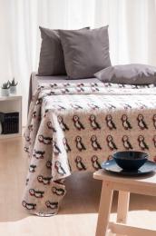 KIDKA 034 Wolldecke Papageientaucher Beige, Islandwolle - 190 x 125 cm