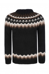 Traditional Icelandic Wool Sweater Hand-knit HSI-233 - black-brown
