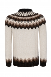 Traditional Icelandic Wool Sweater Hand-knit HSI-234 - white-brown