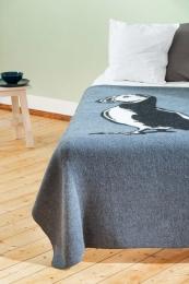 Isländische Wolldecke - Papageientaucher Groß - Blau