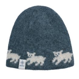 Woolen hat - polar bear cubs - blue
