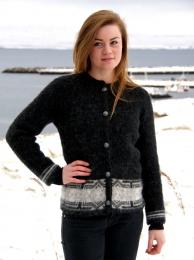 KIDKA 037 Damen Woll-Strickjacke Schwarz mit Knöpfen