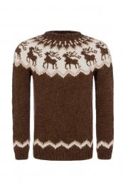 Handgestrickter Pullover mit Rentier-Motiv - braun