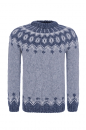 Hand-knit Icelandic Wool Sweater  - blue