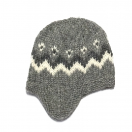 Handknitted Icelandic Woolen Hat with ear flaps - grey