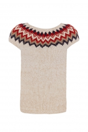 Hand-knitted Icelandic sleeveless slipover - beige