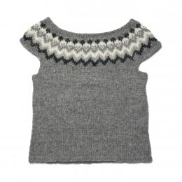 Hand-knitted Icelandic sleeveless slipover - grey