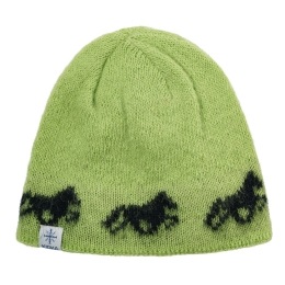 Bonnet de laine - cheval islande - vert
