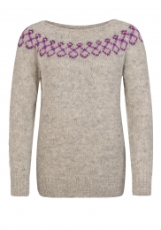 Handknitted Icelandic Sweater - light grey / pink