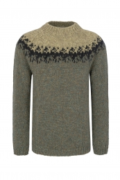 Handknitted Icelandic Sweater - green / black