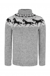 Handknitted Icelandic Sweater - icelandic horses - light grey