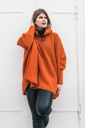 KIDKA 130 Womens Wool Poncho with collar - orange