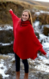 Womens Wool Poncho with collar - red