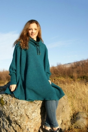 Womens Wool Poncho with collar - turquoise