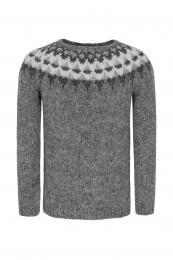 Handknitted Icelandic Sweater - light grey / dark grey / white