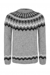 Hand-knit Icelandic Wool Sweater  - light grey