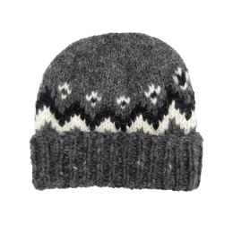 Isländische Wollmütze - Handgestrickt - Grau