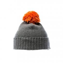Bommel-Mütze - grau / orange