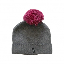 Bommel-Mütze - grau / violett