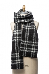 VARMA 091 - Schal mit Karomuster - schwarz / weiß