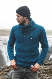 High Neck Wool Pullover with collar lining - turquoise