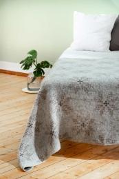 Isländische Wolldecke - Achtblättrige Rose - Beige / Braun