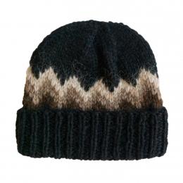 Isländische Wollmütze - Handgestrickt - schwarz / beige / braun