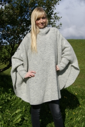 KIDKA 049 Womens Wool Poncho - light grey