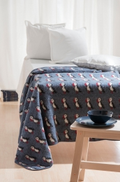 KIDKA 052 Tagesdecke Papageientaucher Blau, Wolldecke, Plaid Islandwolle