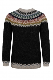 Handknitted Icelandic Sweater - Afmæli - black / multicolored