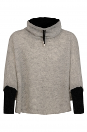 KIDKA 146 Short Wool Poncho - light grey / black