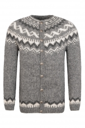 Handknitted Icelandic Cardigan with buttons - light grey