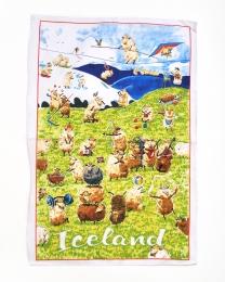 Geschirrtuch - Island-Schafe bei Freizeitaktivitäten