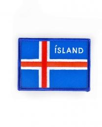 Islandfahne 9 cm - Aufbügler - Gewebter Aufnäher