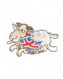 Schaf mit Islandfahne - Aufbügler - Gewebter Aufnäher