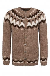 Handknitted Icelandic Cardigan with buttons - brown