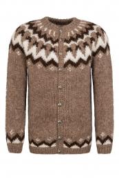 HSI-257 Cardigan tricoté à la main avec boutons - marron
