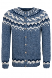 Handknitted Icelandic Cardigan with buttons - blue