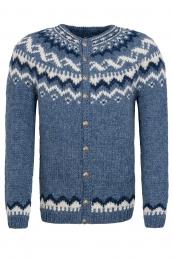 HSI-258 Cardigan tricoté à la main avec boutons - bleu