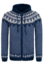 Hooded Icelandic Cardigan with zipper - hand-knit - blue