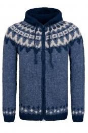 Cardigan islandais tricoté à la main avec fermeture-éclair HSI-261 - bleu