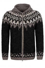 Hooded Icelandic Cardigan with zipper - hand-knit - black / brown