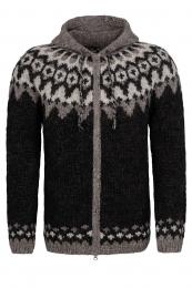Cardigan islandais tricoté à la main avec fermeture-éclair HSI-262 - noir / marron