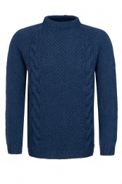 Handknitted Cable knit Wool Sweater HSI-263 - blue