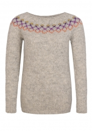 Handknitted Icelandic Sweater - light grey / multicolored