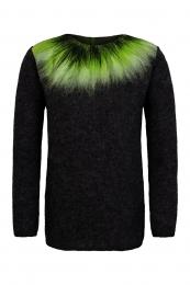 Thin womens wool sweater - Northern Lights - black / green