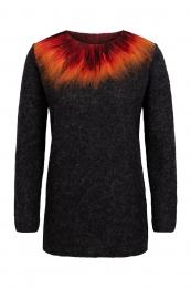 Dünner Damen Wollpullover - Vulkanausbruch - schwarz / rot / orange