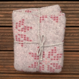 Isländische Wolldecke - 100 x 130 cm - hellgrau / pink